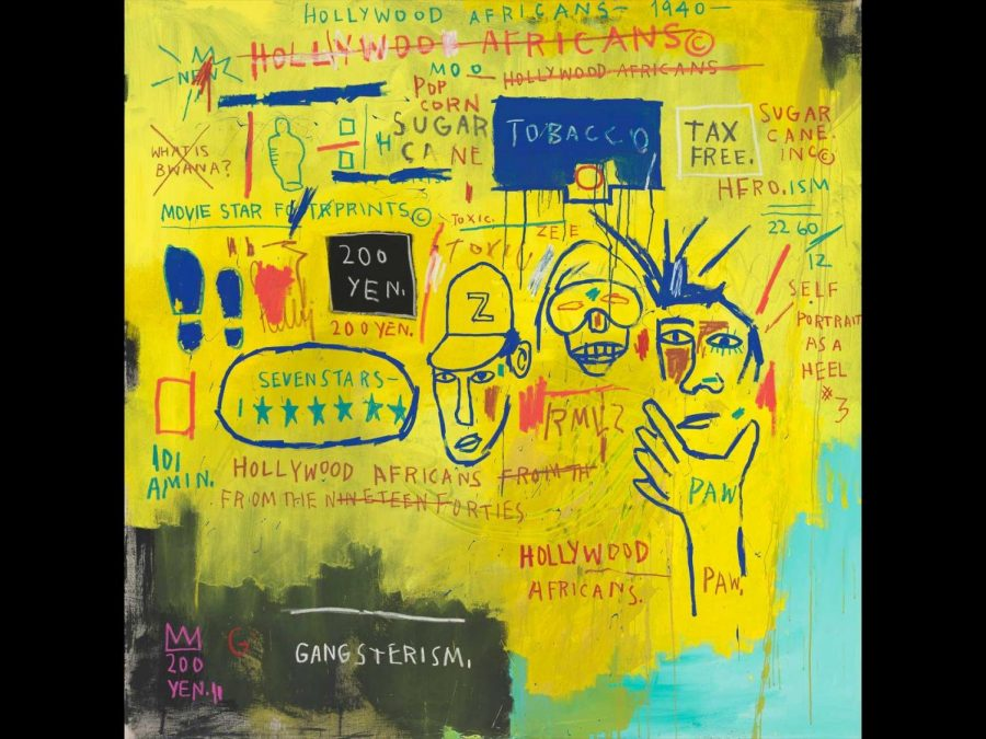 Hollywood Africans by Jean Michael Basquiat is acrylic and oil paintstick on canvas.