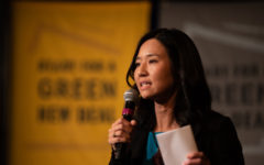 Mayoral candidate Michelle Wu speaks at the