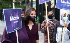 Michelle Wu campaigns all over Boston in hopes to win votes. (Source: Jim Davis)